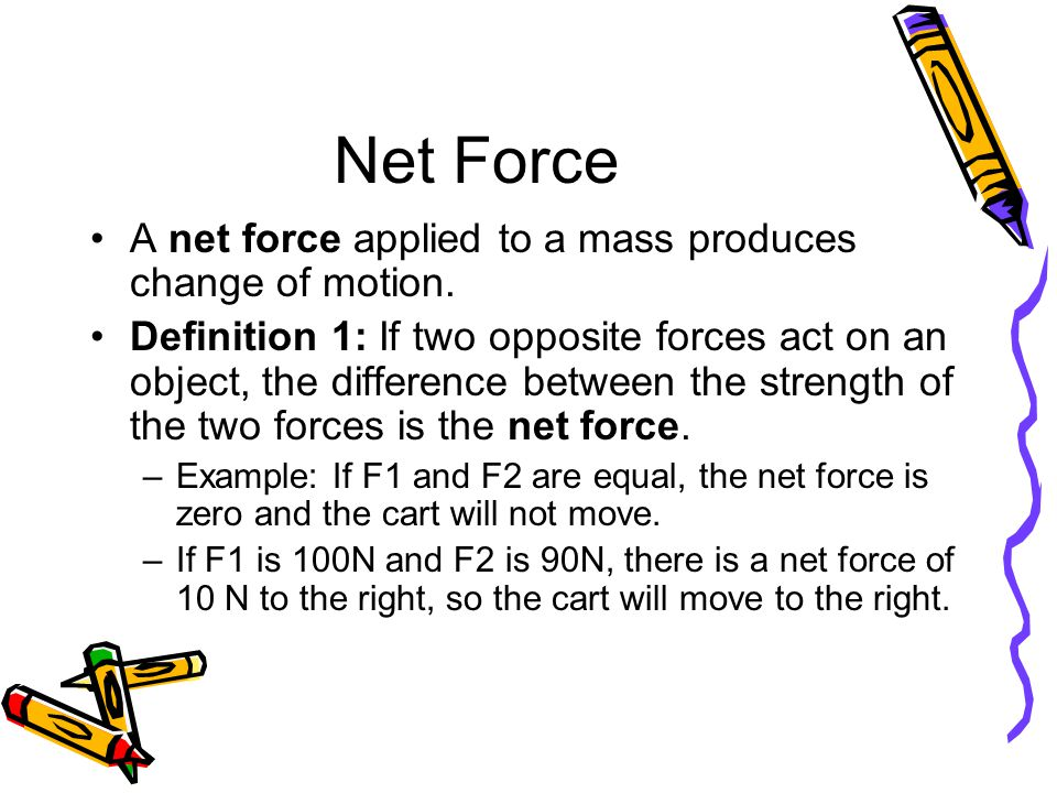Net Force A net force applied to a mass produces change of motion.
