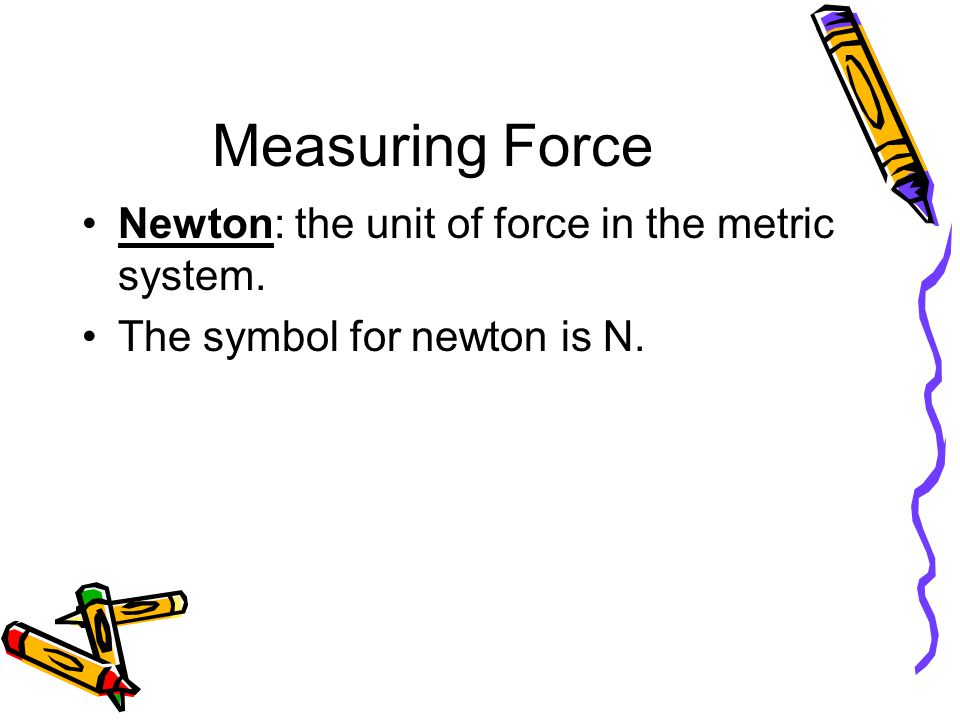 Measuring Force Newton: the unit of force in the metric system.