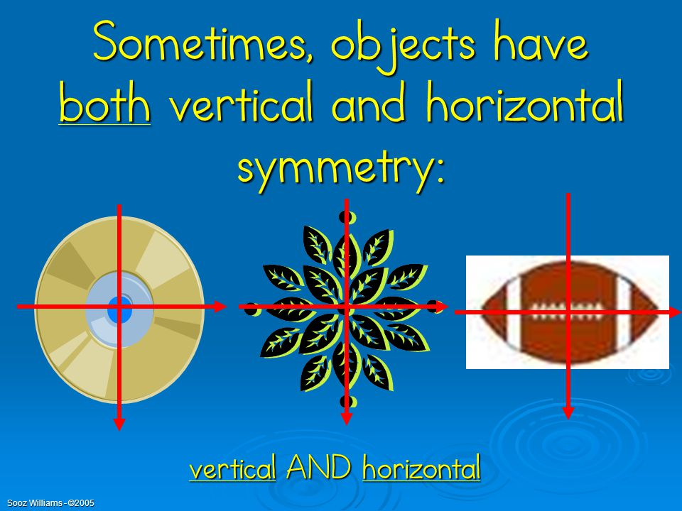 Sometimes, objects have both vertical and horizontal symmetry: