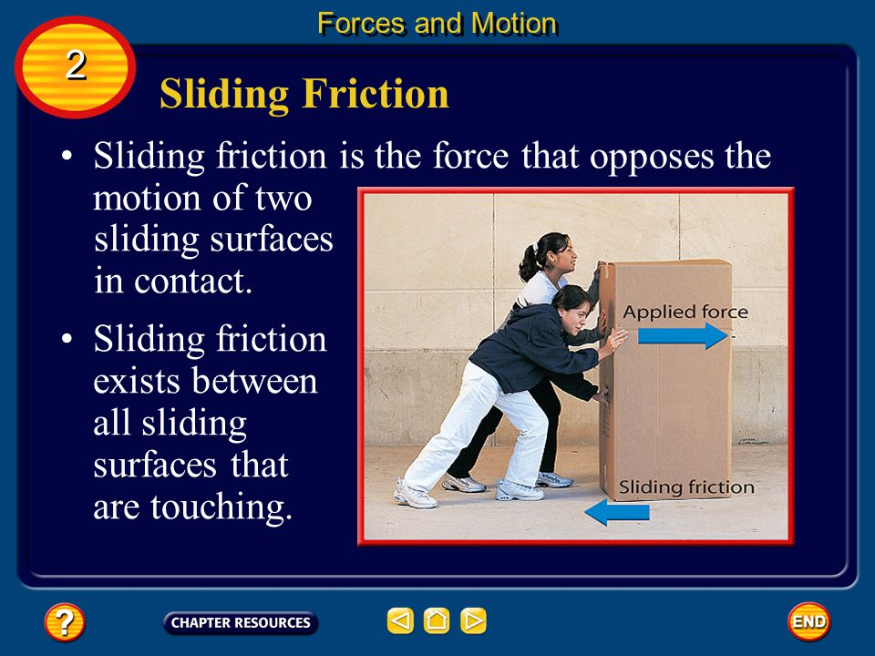 Forces and Motion 2. Sliding Friction. Sliding friction is the force that opposes the motion of two.