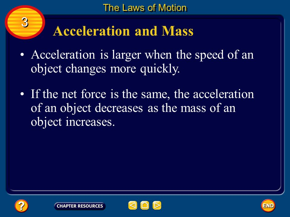 The Laws of Motion 3. Acceleration and Mass. Acceleration is larger when the speed of an object changes more quickly.