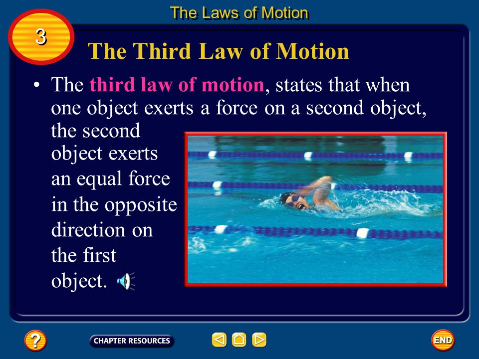 The Laws of Motion 3. The Third Law of Motion. object exerts an equal force in the opposite direction on the first object.