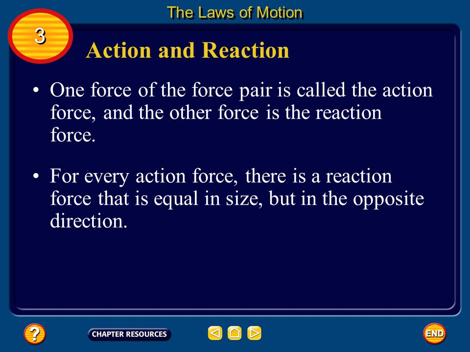 The Laws of Motion 3. Action and Reaction. One force of the force pair is called the action force, and the other force is the reaction force.