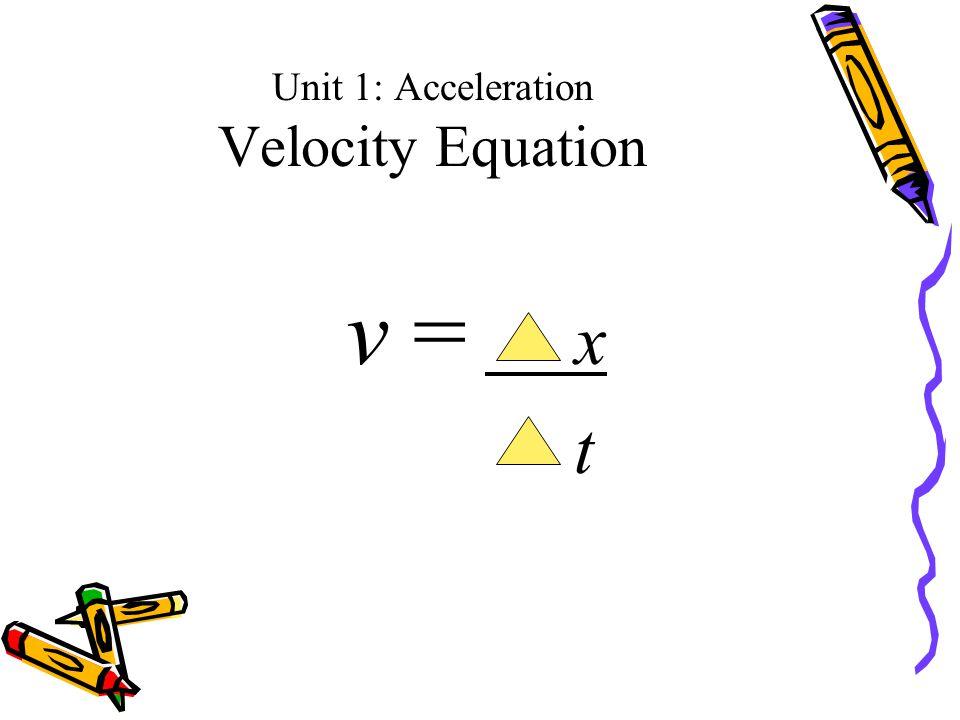 Unit 1: Acceleration Velocity Equation