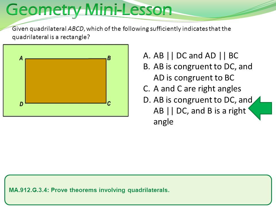 Geometry Mini-Lesson AB || DC and AD || BC