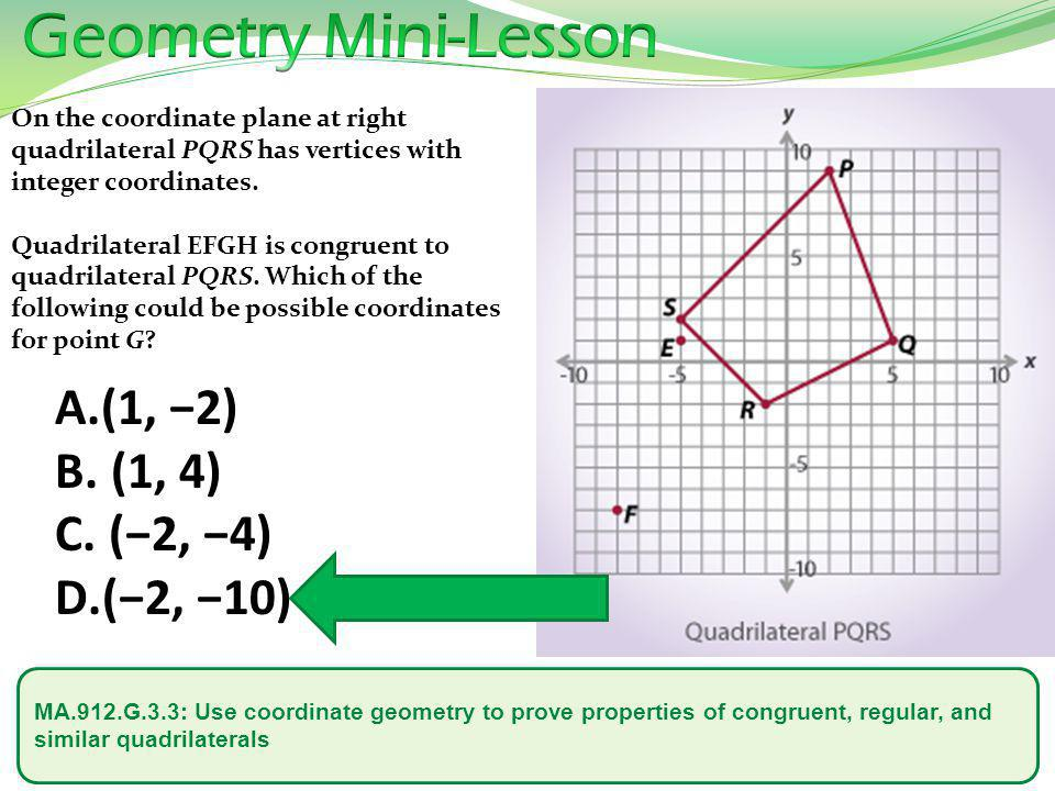 Geometry Mini-Lesson (1, −2) (1, 4) (−2, −4) (−2, −10)