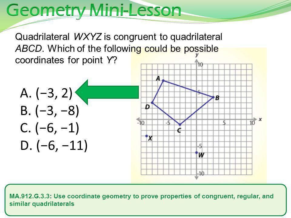 Geometry Mini-Lesson (−3, 2) (−3, −8) (−6, −1) (−6, −11)