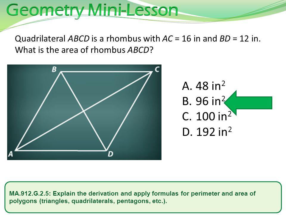 Geometry Mini-Lesson 48 in2 96 in2 100 in2 192 in2