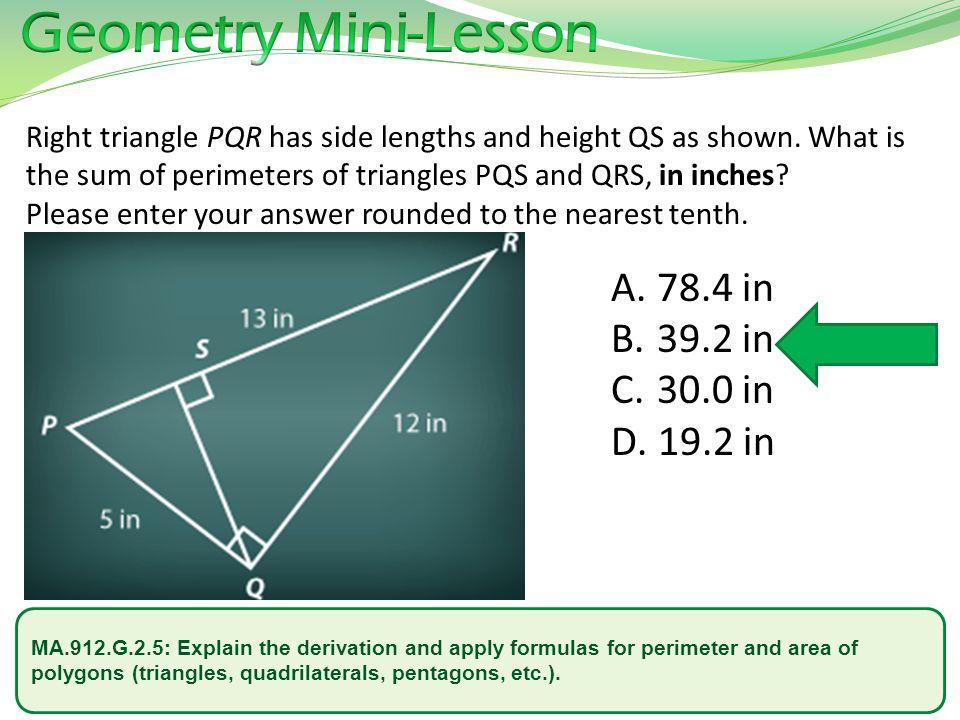 Geometry Mini-Lesson 78.4 in 39.2 in 30.0 in 19.2 in