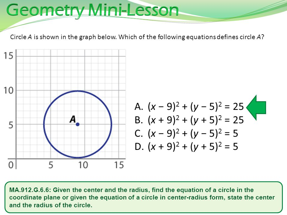 Geometry Mini-Lesson (x − 9)2 + (y − 5)2 = 25 (x + 9)2 + (y + 5)2 = 25