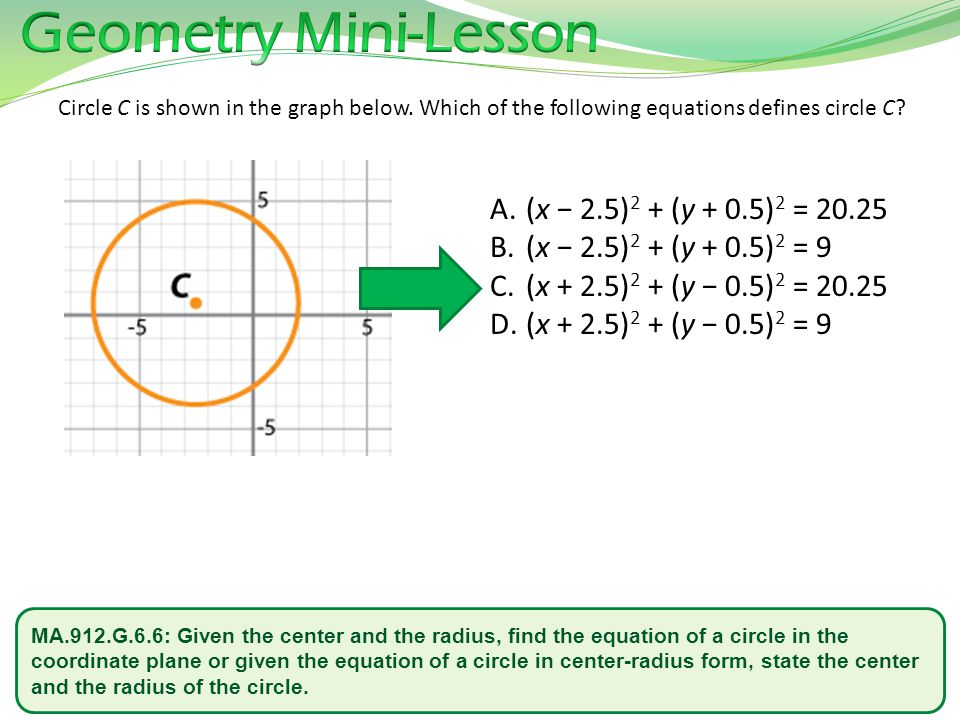 Geometry Mini-Lesson (x − 2.5)2 + (y + 0.5)2 = 20.25