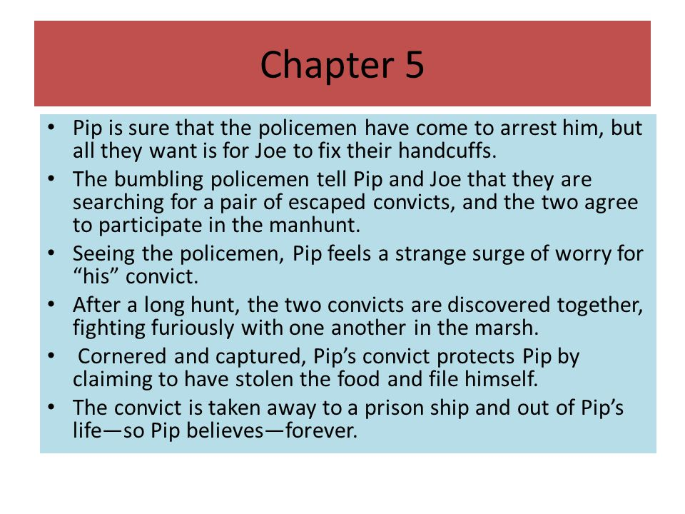 Chapter 5 Pip is sure that the policemen have come to arrest him, but all they want is for Joe to fix their handcuffs.