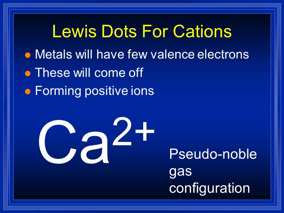 Ca2+ Lewis Dots For Cations Pseudo-noble gas configuration