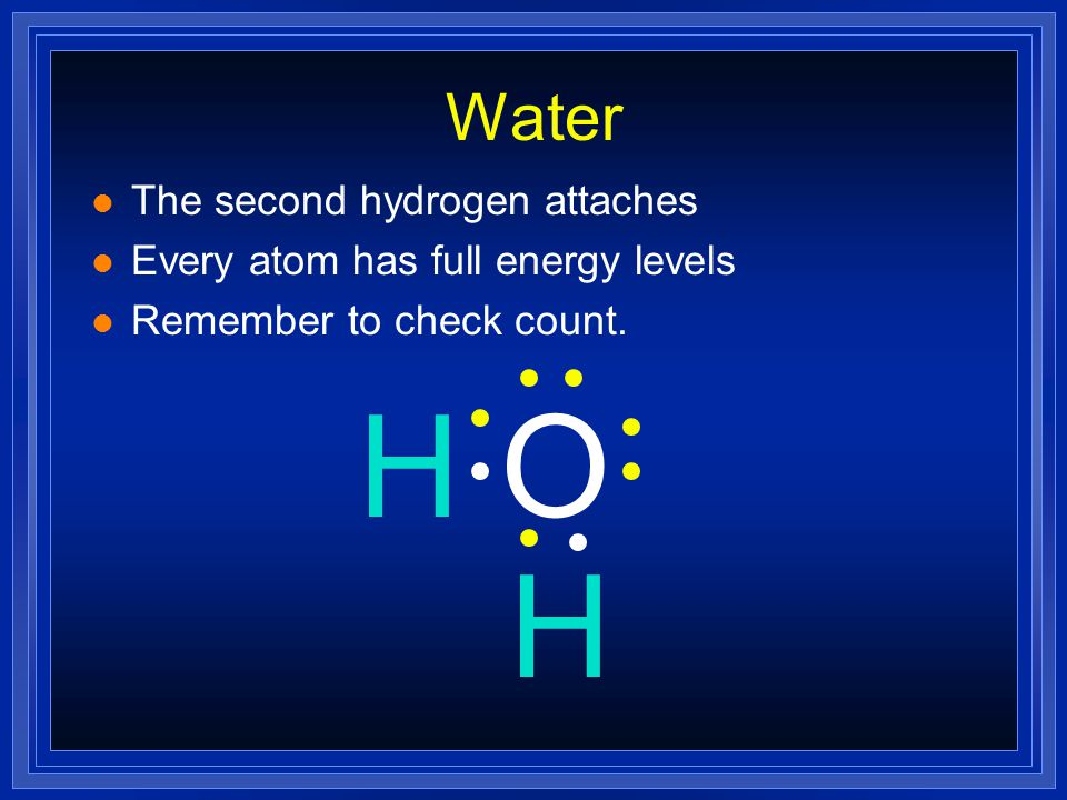 H O H Water The second hydrogen attaches