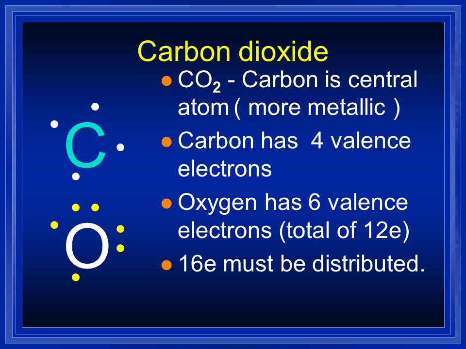 C O Carbon dioxide CO2 - Carbon is central atom ( more metallic )