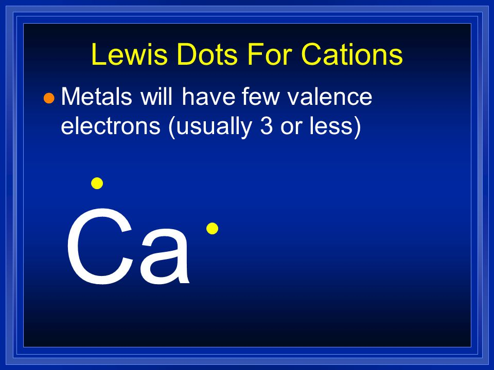 Ca Lewis Dots For Cations