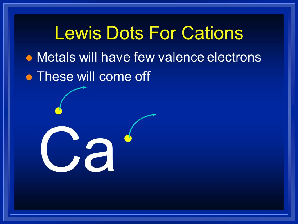 Ca Lewis Dots For Cations Metals will have few valence electrons
