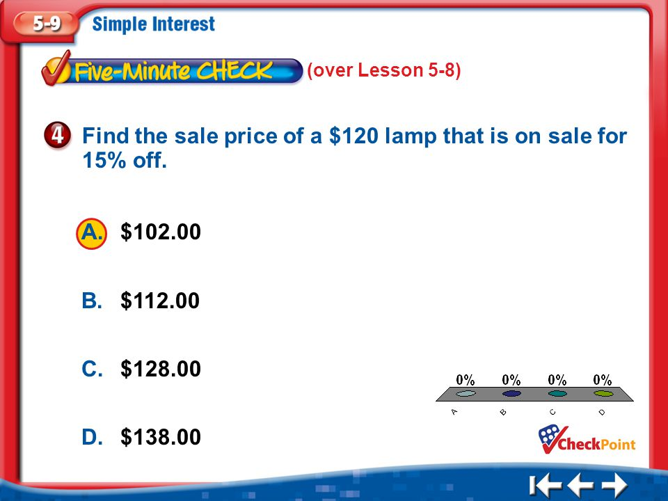 Find the sale price of a $120 lamp that is on sale for 15% off.