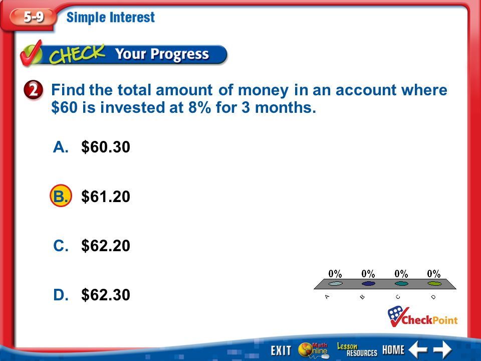 Find the total amount of money in an account where $60 is invested at 8% for 3 months.