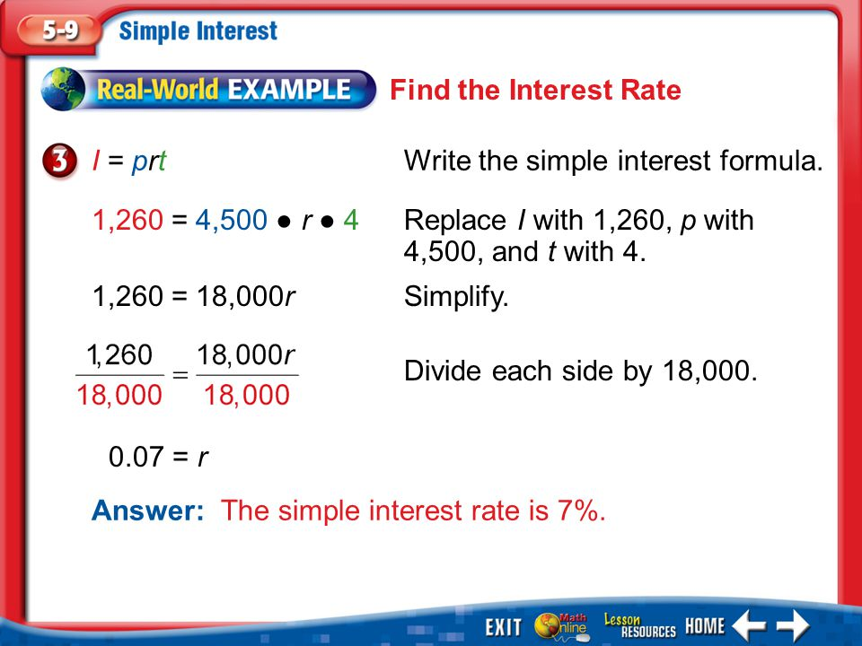 I = prt Write the simple interest formula.