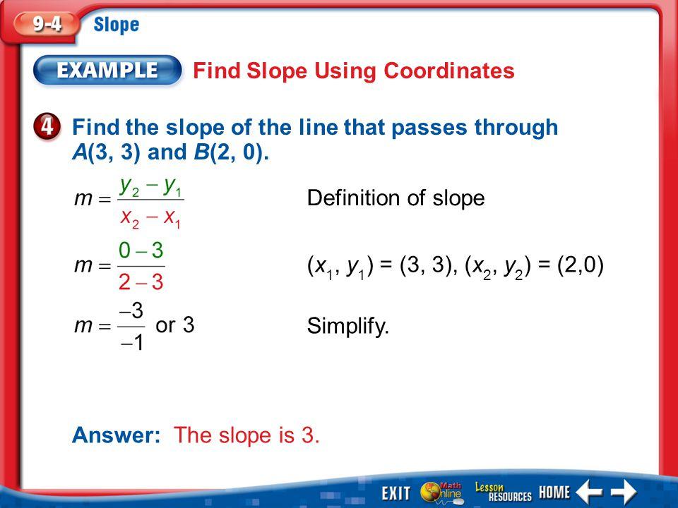 Find Slope Using Coordinates