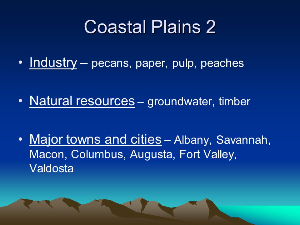 Coastal Plains 2 Industry – pecans, paper, pulp, peaches