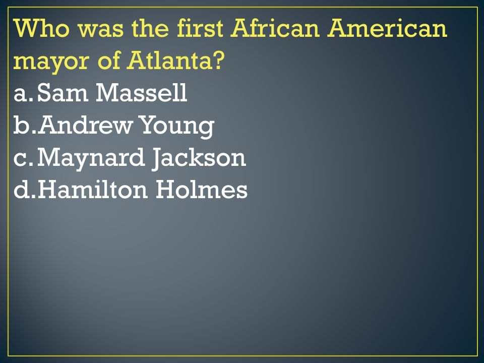 Who was the first African American mayor of Atlanta