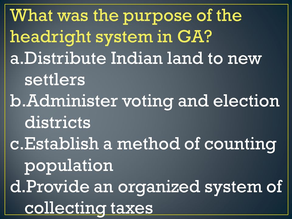 What was the purpose of the headright system in GA