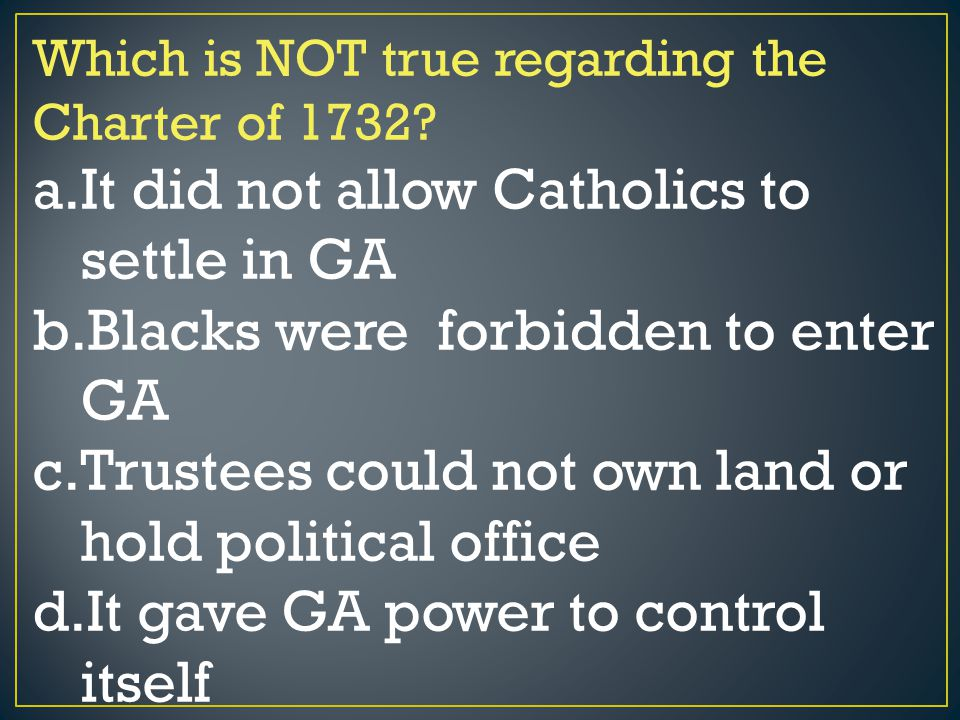 It did not allow Catholics to settle in GA