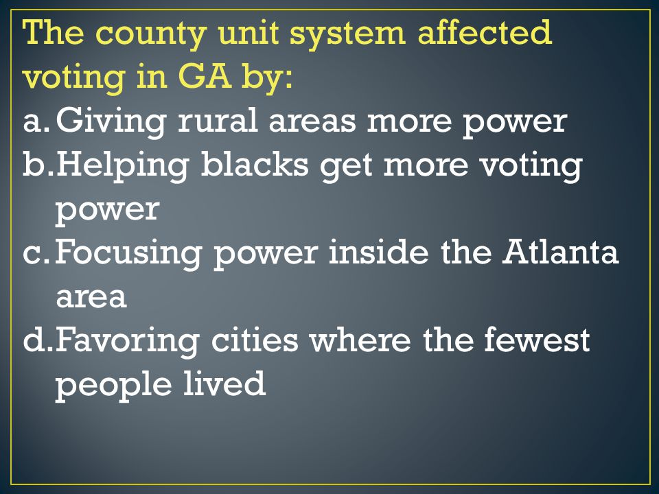 The county unit system affected voting in GA by:
