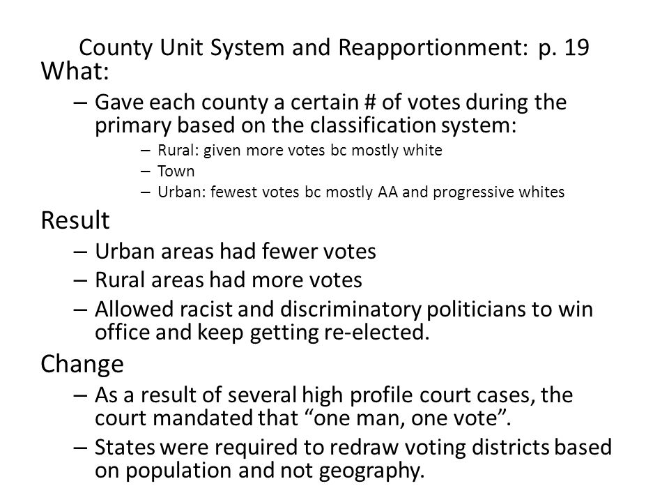 County Unit System and Reapportionment: p. 19