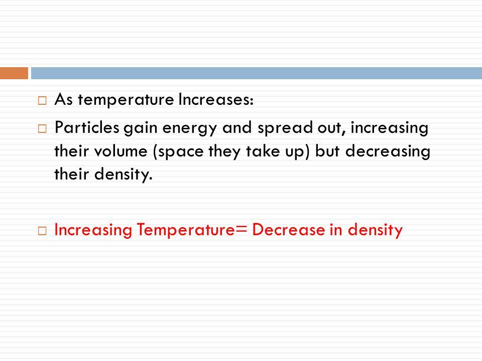 As temperature Increases: