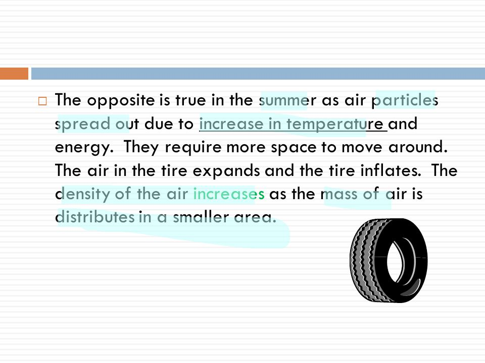 The opposite is true in the summer as air particles spread out due to increase in temperature and energy.