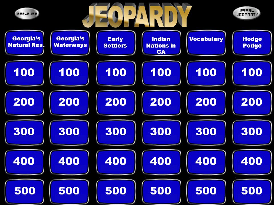 JEOPARDY Georgia's. Natural Res. Georgia's. Waterways. Early. Settlers. Indian Nations in. GA.