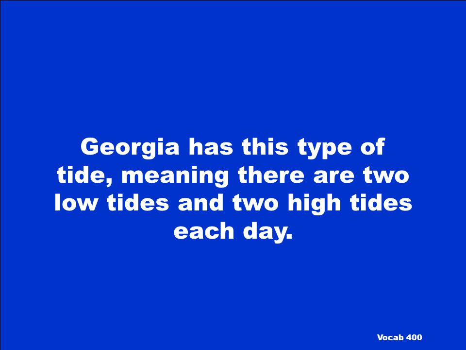Georgia has this type of tide, meaning there are two low tides and two high tides each day.