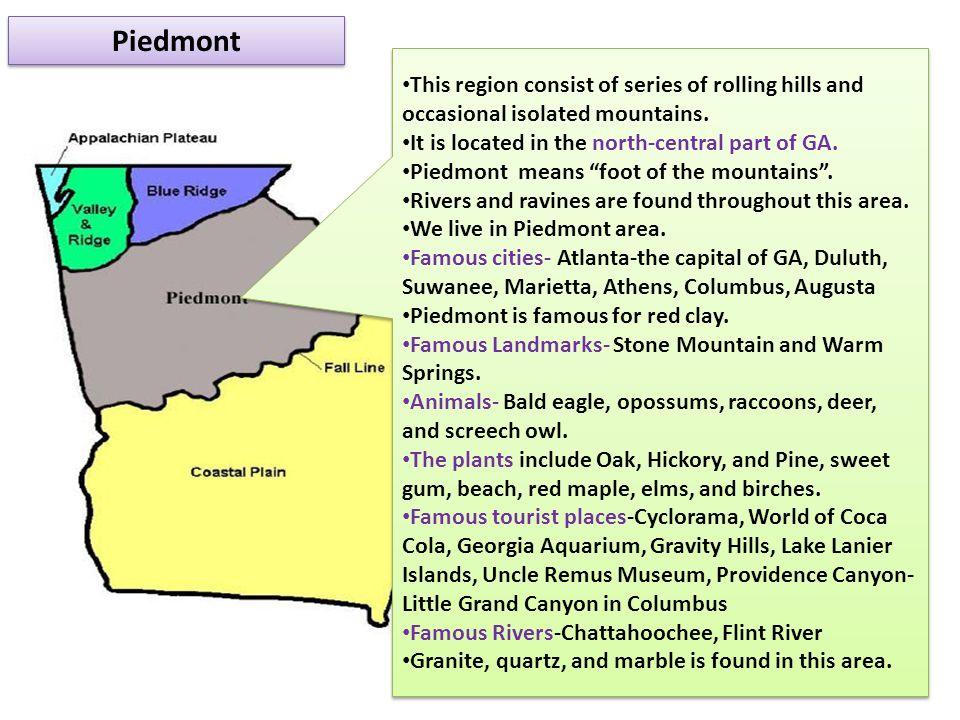 Piedmont This region consist of series of rolling hills and occasional isolated mountains. It is located in the north-central part of GA.