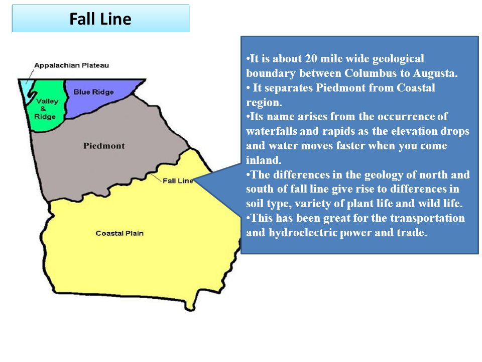 Fall Line It is about 20 mile wide geological boundary between Columbus to Augusta. It separates Piedmont from Coastal region.