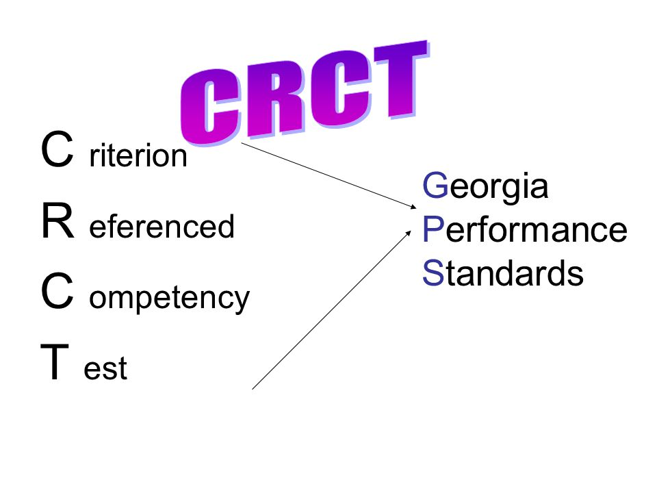 C riterion R eferenced C ompetency T est CRCT