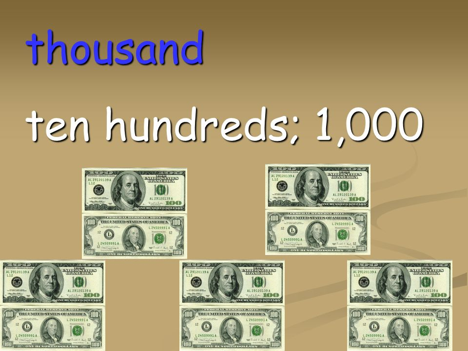 thousand ten hundreds; 1,000