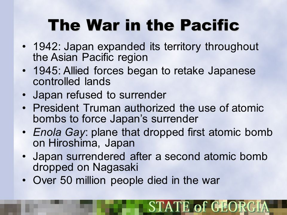 The War in the Pacific 1942: Japan expanded its territory throughout the Asian Pacific region.