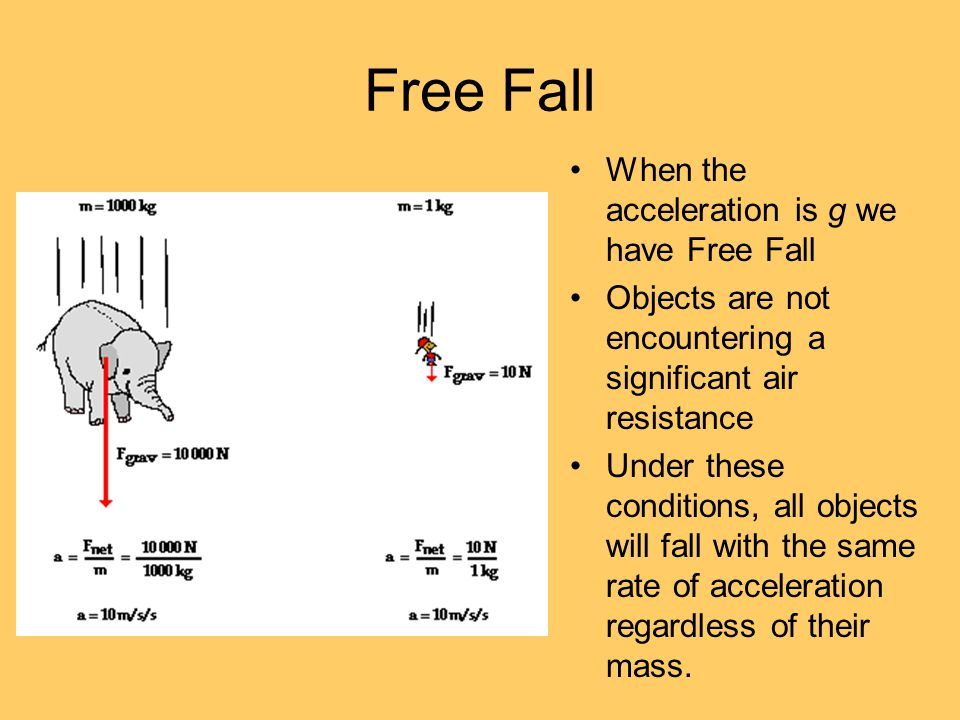 Free Fall When the acceleration is g we have Free Fall