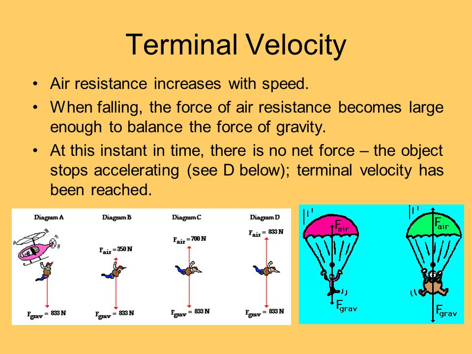 Terminal Velocity Air resistance increases with speed.