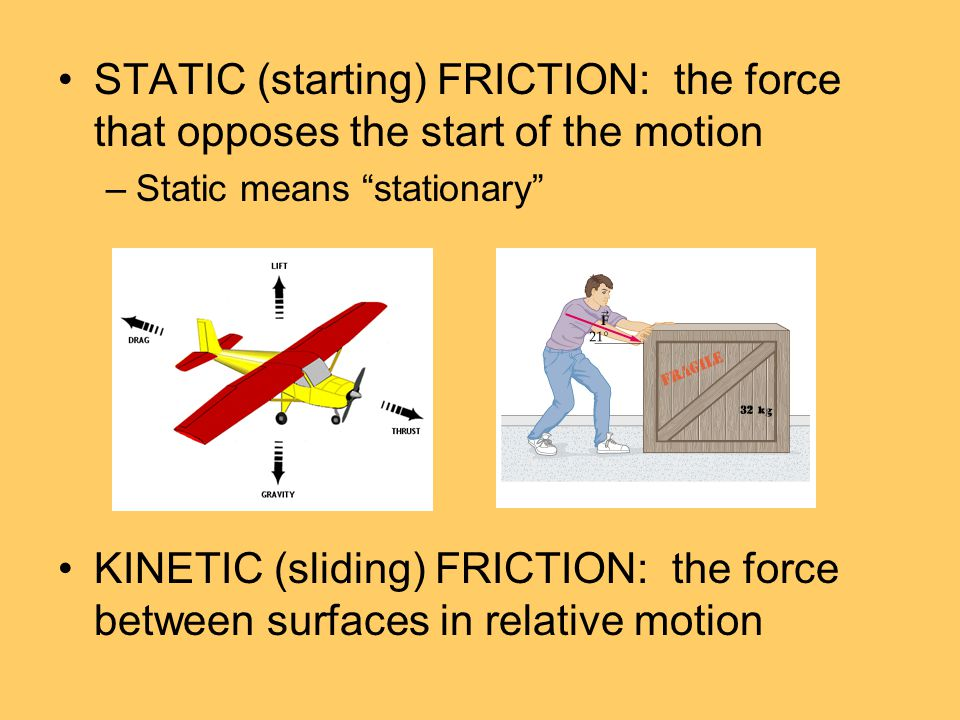 STATIC (starting) FRICTION: the force that opposes the start of the motion