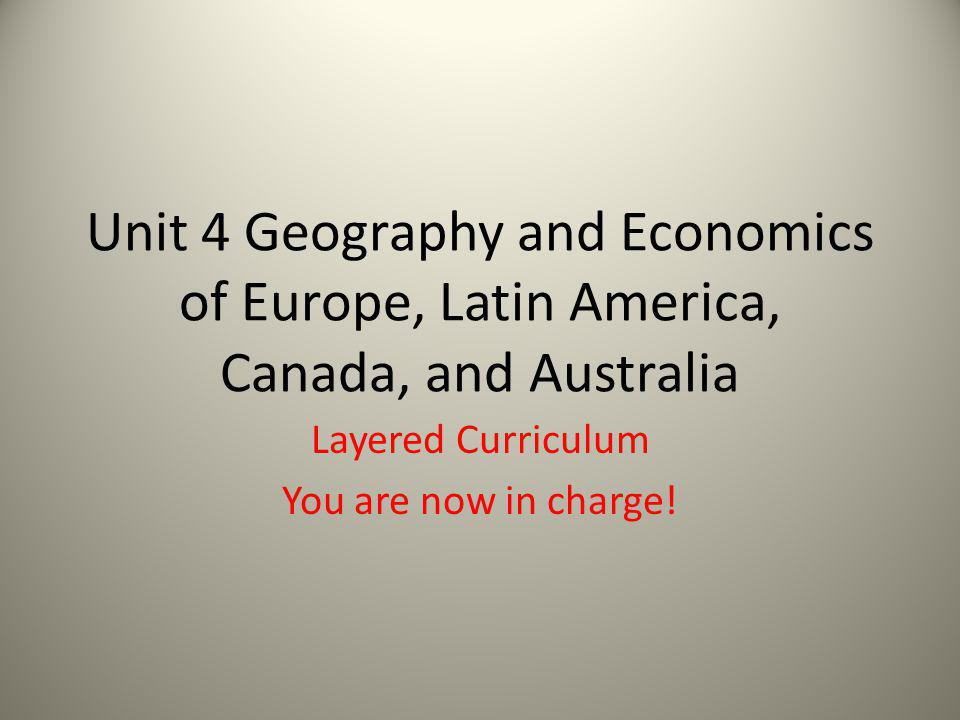 Layered Curriculum You are now in charge!