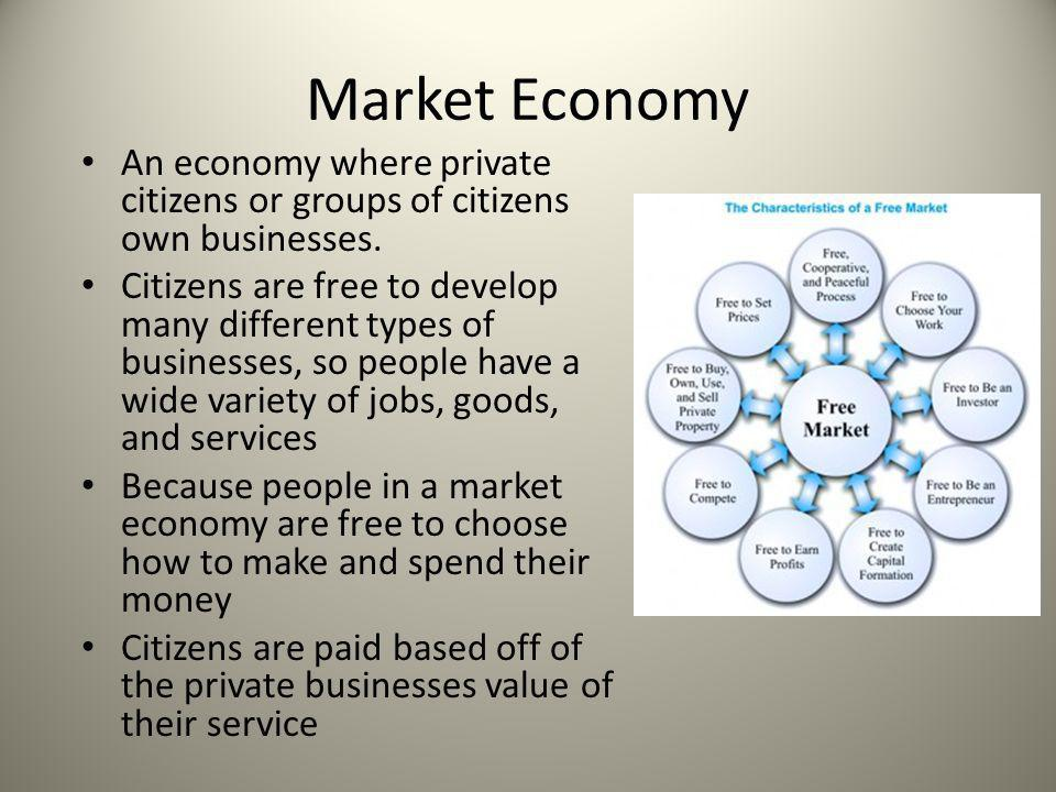 Market Economy An economy where private citizens or groups of citizens own businesses.