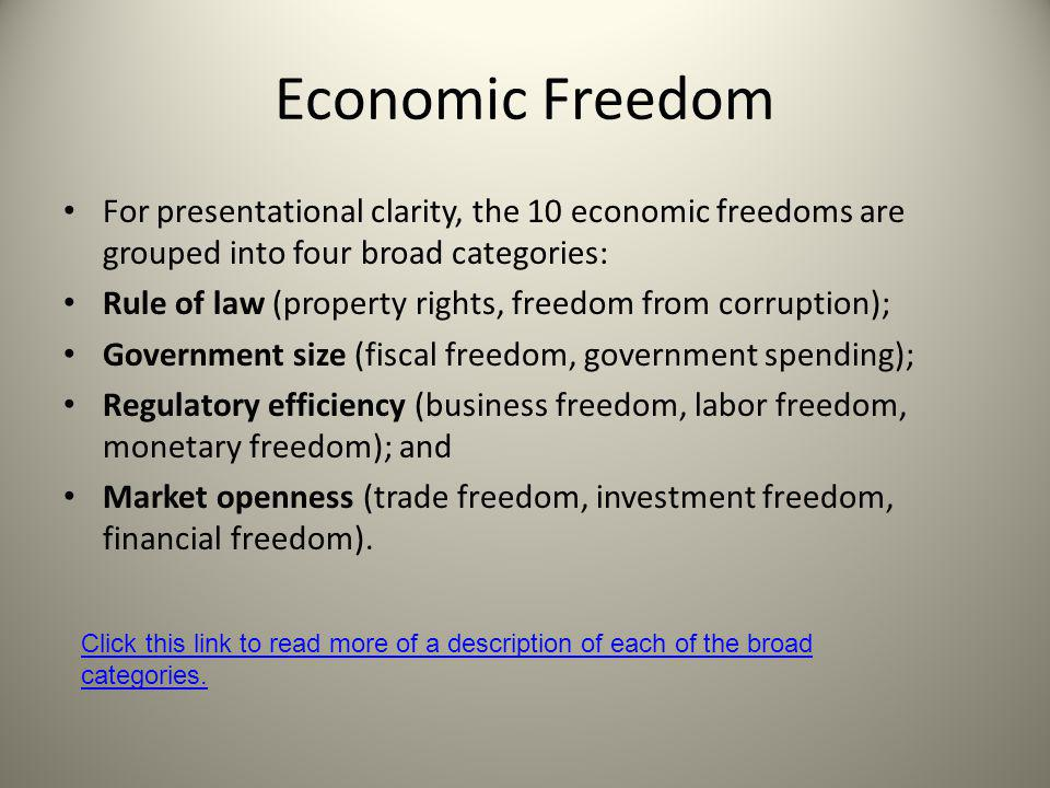 Economic Freedom For presentational clarity, the 10 economic freedoms are grouped into four broad categories: