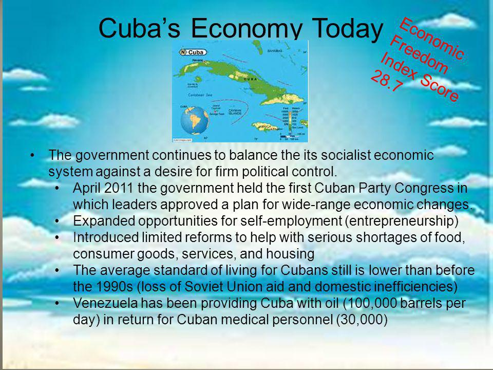 Cuba's Economy Today Economic Freedom Index Score 28.7