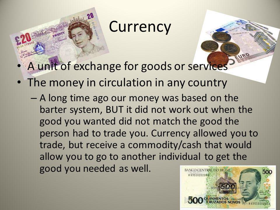 Currency A unit of exchange for goods or services