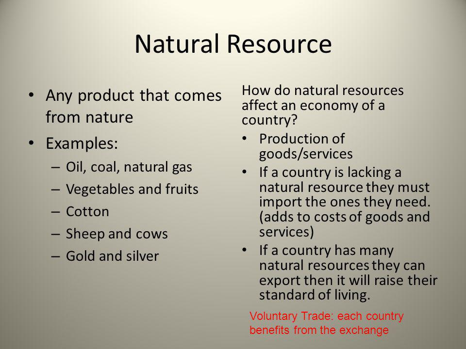 Natural Resource Any product that comes from nature Examples: