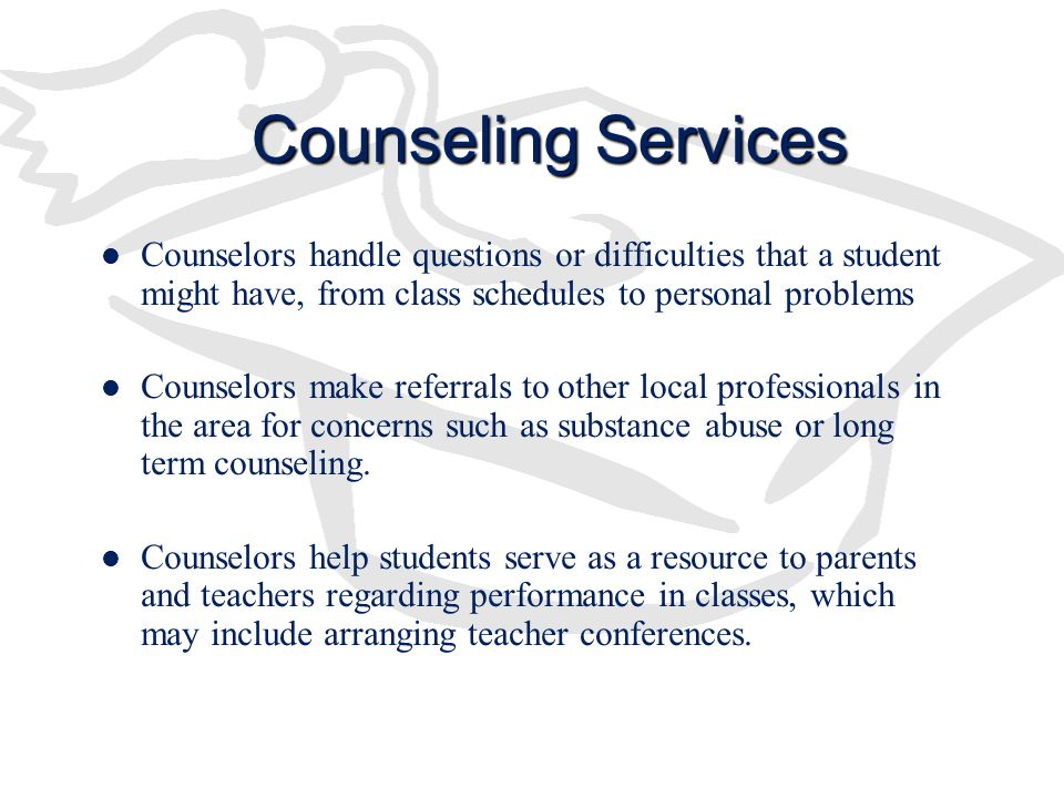 Counseling Services Counselors handle questions or difficulties that a student might have, from class schedules to personal problems.